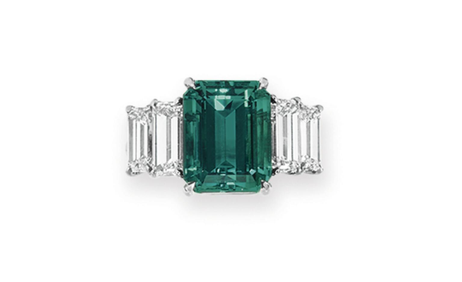 Lot 95. A green tourmaline and diamond ring. Estimate 2,000 - 3,000 U.S. dollars. SOLD FOR $6,250