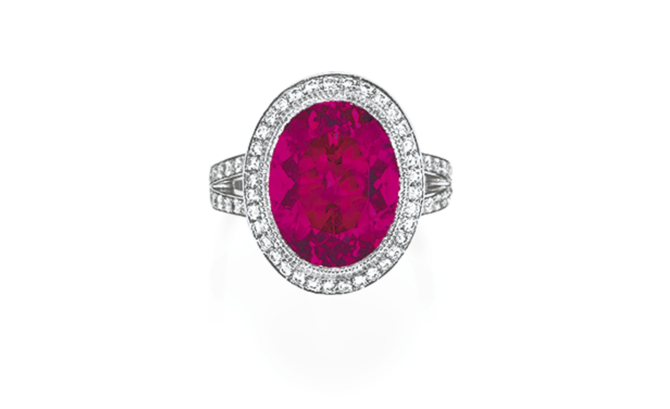 Lot 96. A rubalite tourmaline and diamond ring, by Tiffany & Co. Estimate 2,000 - 3,000 U.S. dollars. SOLD FOR $7,500