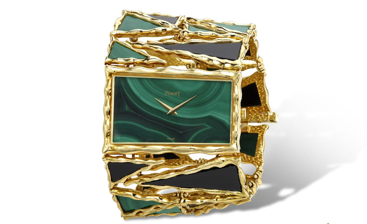 Piaget 1970 Cuff in yellow gold cuff watch with malachite dial and malachite and onyx bracelet. Piaget ultra-thin mechanical movement 9P. Piaget Private Collection.