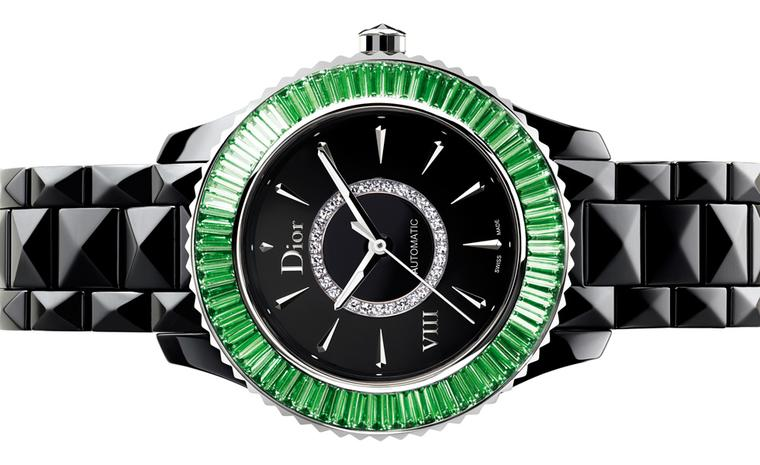 Dior VIII 33mm automatic watch set with green baguette-cut tsavorite garnets.