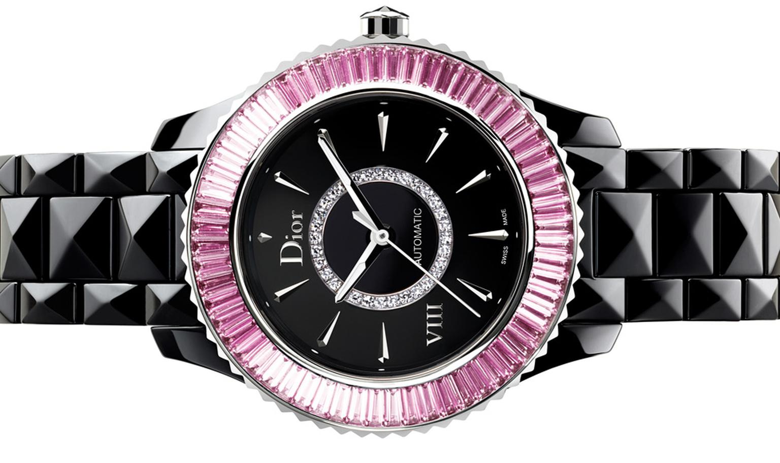 Dior VIII 33mm automatic watch set with baguette-cut pink sapphires.