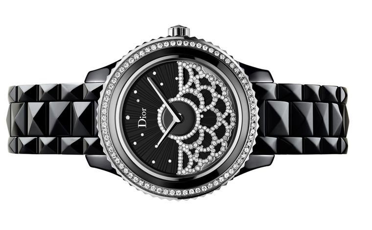 Dior VIII Grand Bal watch number 2, with a diamond-set on the dial of the watch that twirls like a ball gown in motion. The bezel and strap are made of black hi-tech ceramic.