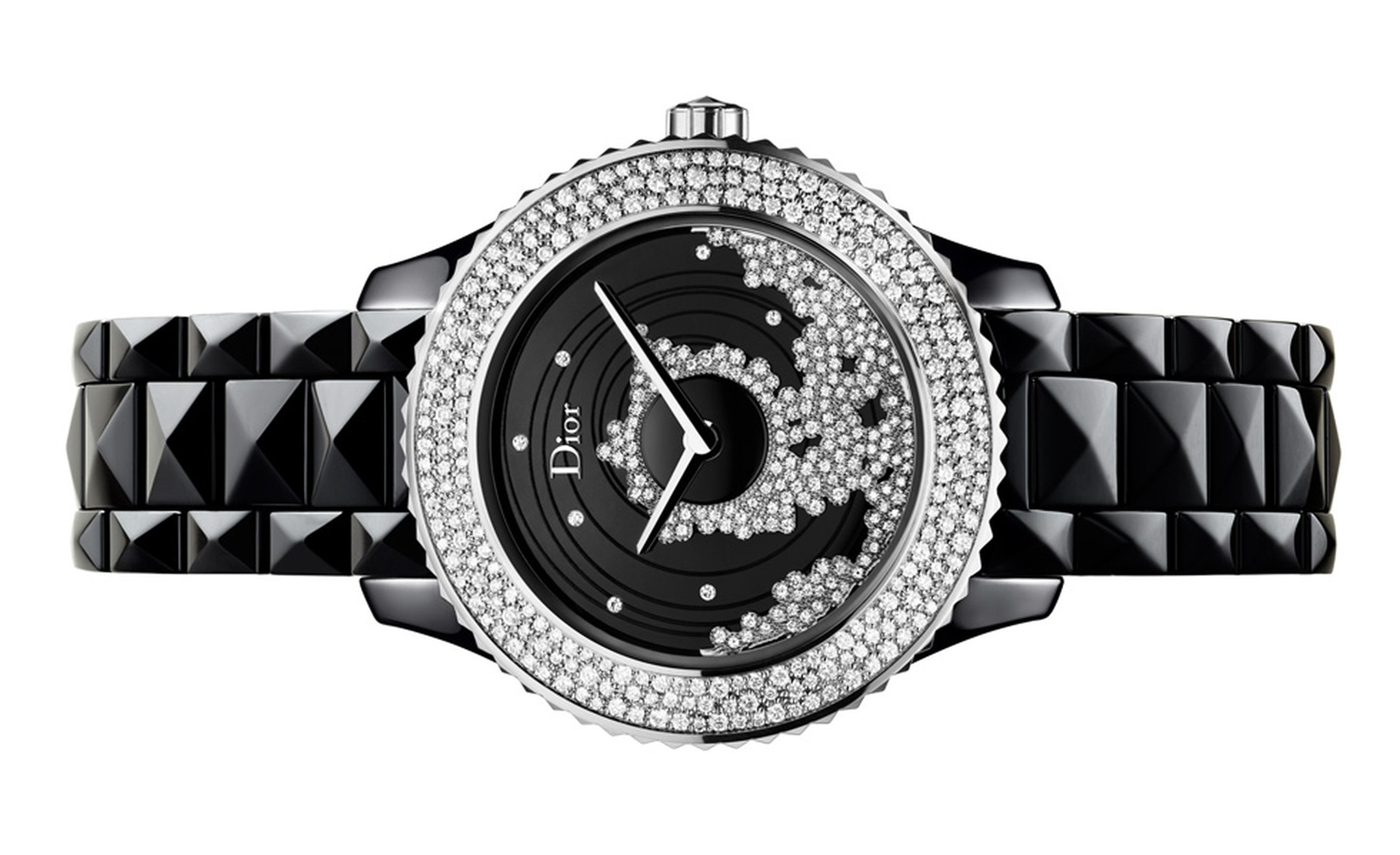 Dior VIII Grand Bal 4 watch with a diamond-set on the dial of the watch that twirls like a ball gown in motion. This automatic movement has been specially developed for Dior and features the rotor on the dial.