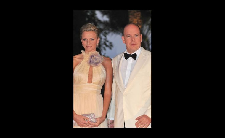 Charlene Wittstock with Prince Albert II, looking glamorous and once again, low key on the jewellery. Photo: Prince's Palace of Monaco