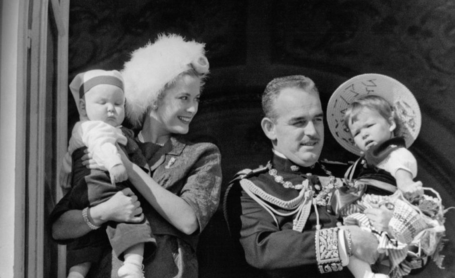Princess Grace and Prince Rainier with Albert II and Caroline on the balcony. Photo: Prince's Palace Monaco