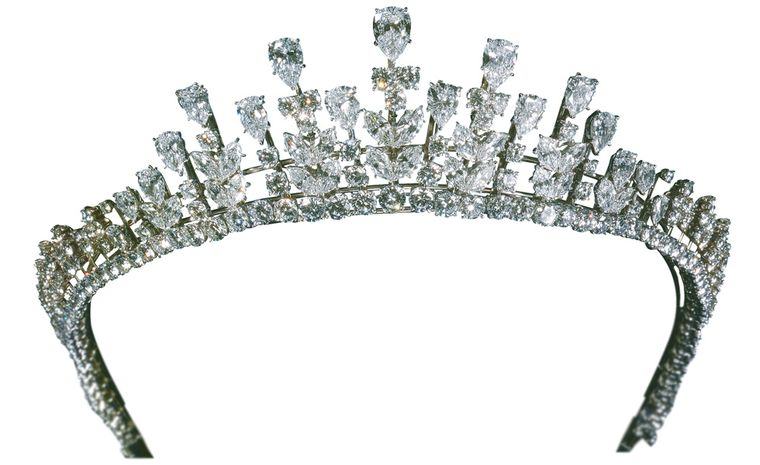 Van Cleef & Arpels diamond tiara that Princess Grace wore at the wedding of her daughter Caroline to Philippe Jugnot in 1978.  Platinum set with pear-shaped diamonds, marquise-shaped diamonds and round diamonds, weighing 77.34 carats. Today this...