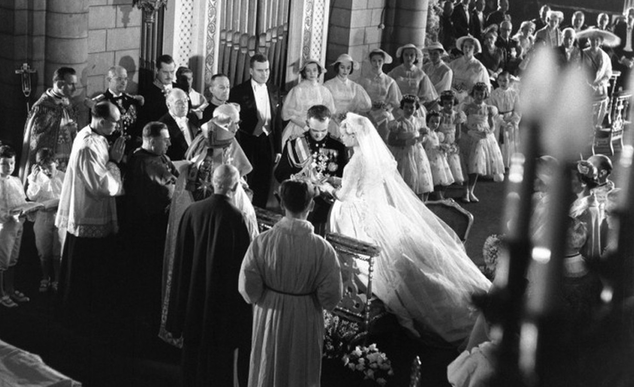 The religious marriage ceremony of Prince Rainier III and Princess Grace in Monte Carlo 1956. Photo: The Prince's Palace Monaco