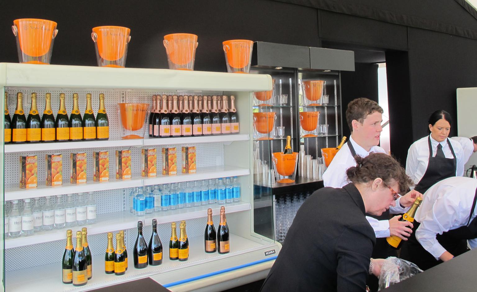 The Veuve Clicquot refreshment stand.
