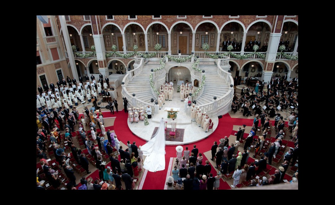 Bird's eye view of the religious marriage ceremony of Prince Albert II to Princess Charlene. Photo: Prince's Palace of Monaco