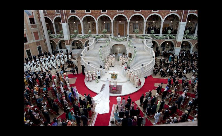 Bird's eye view of the spectacular princely wedding between Prince Albert II of Monaco and Princess Charlene. Photo: Prince's Palace Monaco