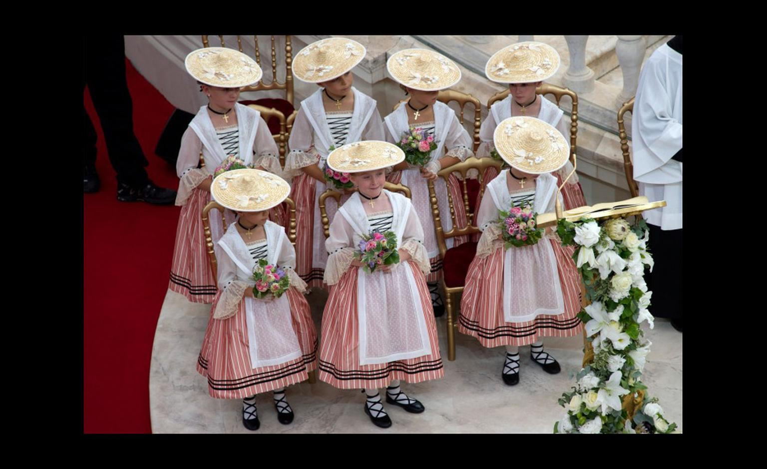 The bridesmaid's in typical Moneguasque outfits at the wedding of Prince Albert II and Princess Charlene. Photo: Prince's Palace Monaco