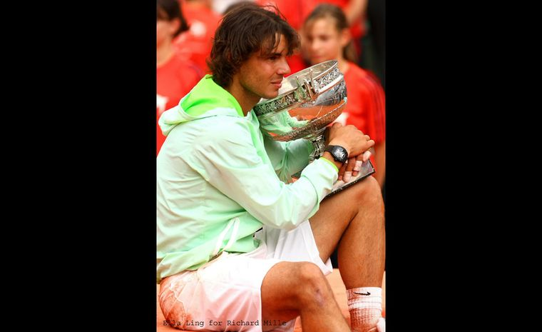 Another stellar moment: Rafael Nadal wins Roland Garros 2010, and yes alongside the trophy is his Richard Mille RM 027 watch.