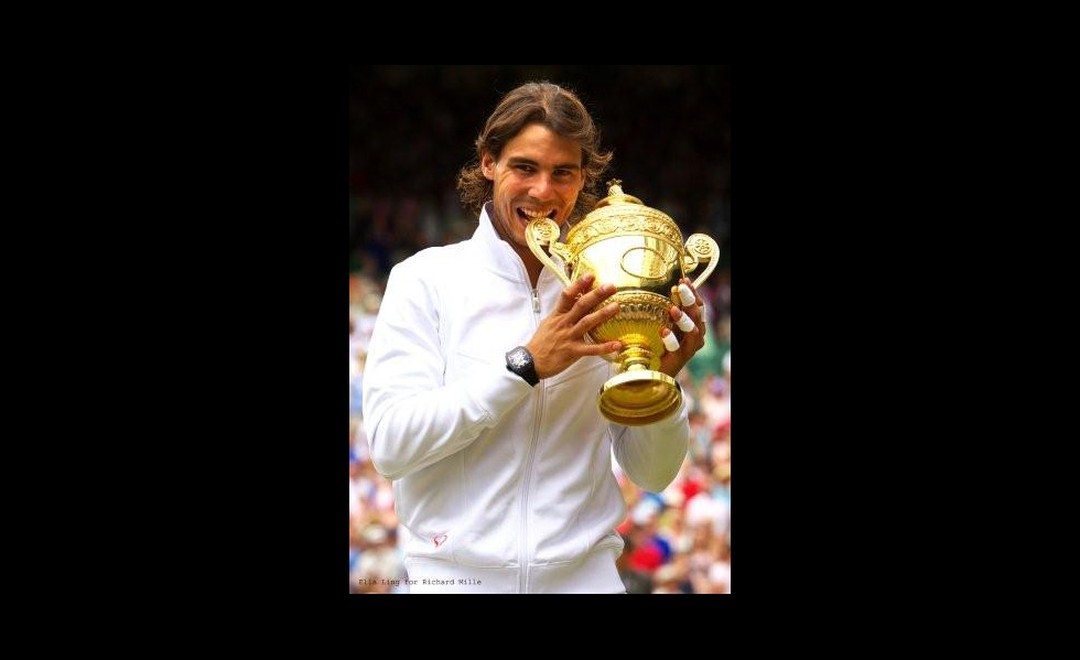 Rafael Nadal wins Wimbledon 2010 with that now familiar black Richard Mille RM 027 Tourbillon on his wrist. Copyright-Ella-Ling-for-Richard-Mille