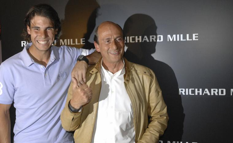 Rafael Nadal with Richard Mille who has provided him with the big, black watch that accompanies Nadal on all his high-profile tennis tournaments.