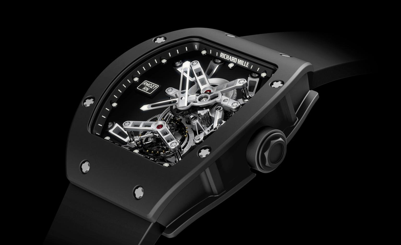 The Richard Mille RM 027 Tourbillon that Rafael Nadal is wearing on wrist when he plays tennis, including the Wimbledon 2011 final against Novak Djokovic.