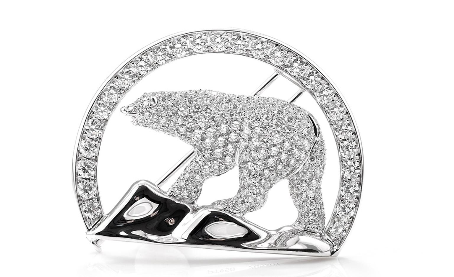 The polar bear brooch given to the Duchess of Cambridge by the the Northwest Territory and its people featuring the region's official logo. The diamonds from the Diavik mine in the Northwest Territories.