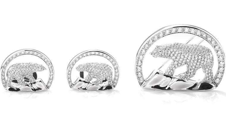 Harry Winston donated the diamonds from the Diavik mine in the Northwest Territories and made the jewels featuring the region's  logo of a polar bear.