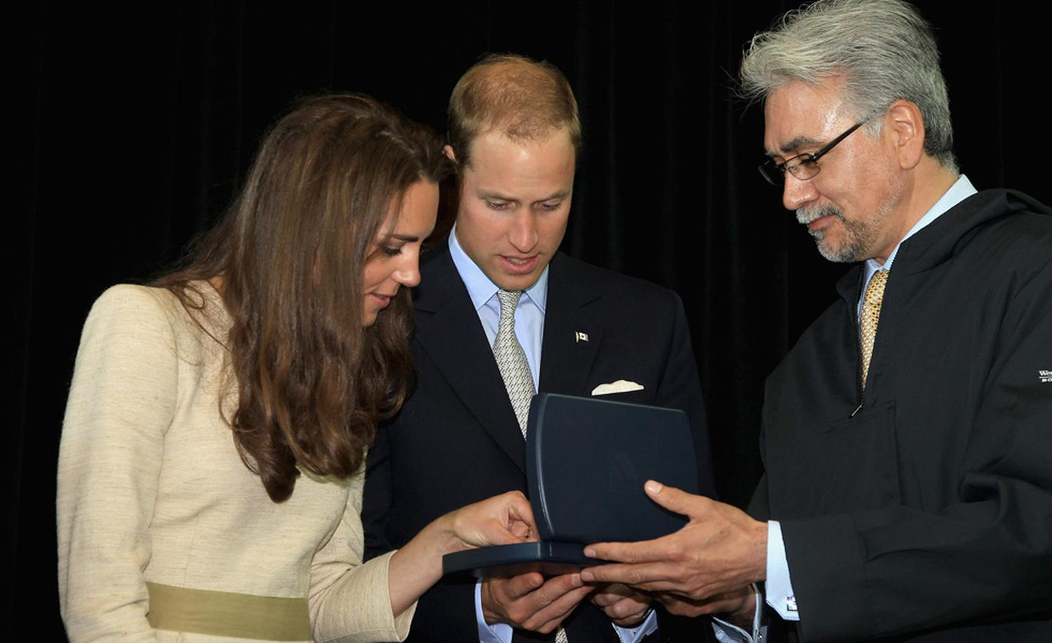 The Duke and Duchess of Cambridge are presented with diamond jewels by Northwest Territories Premier Floyd K Rowland.