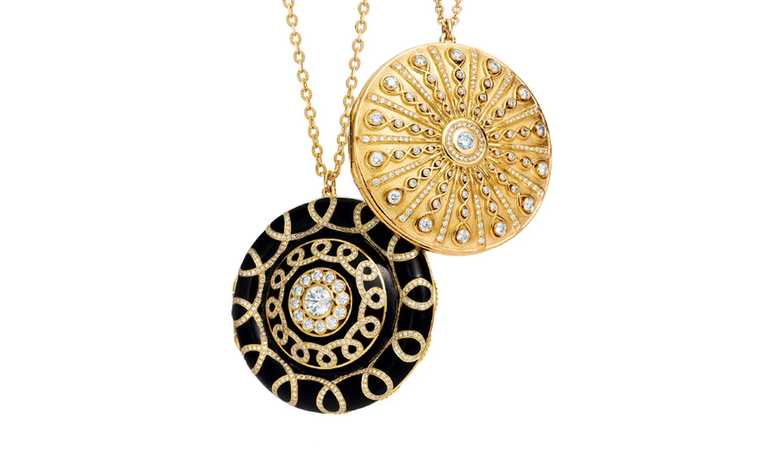 TIFFANY, Gold lockets (from left) black enamel and diamonds. Left price from $33,500, right price from $35,000