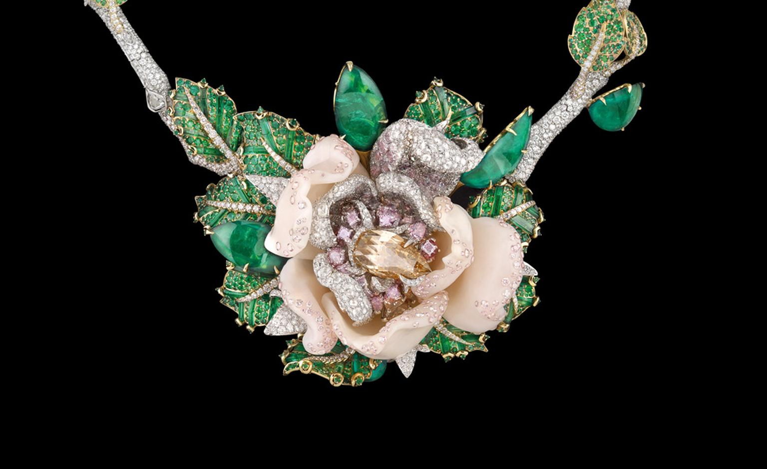 Close up of Dior Fine Jewellery Le Bal des Roses, Bal de Mai necklace in white and yellow gold with diamonds, fancy brown diamond, fancy pink, lilac and mauve diamonds, pink opals and emeralds.