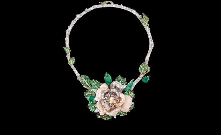 Dior Fine Jewellery Le Bal des Roses, Bal de Mai necklace in white and yellow gold with diamonds, fancy brown diamond, fancy pink, lilac and mauve diamonds, pink opals and emeralds.