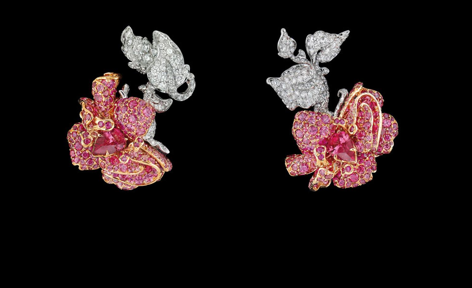 DIOR FINE JEWELLERY LE BAL DES ROSES BAL DE L'OPERA EARRINGS WHITE AND PINK GOLD, DIAMONDS, SPINELS AND RUBIES.
