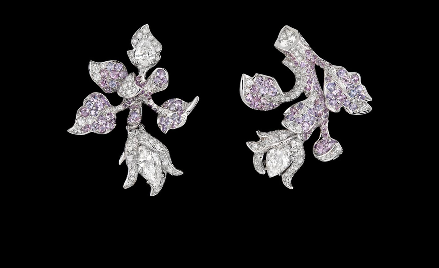 DIOR FINE JEWELLERY LE BAL DES ROSES BAL ROMANTIQUE EARRINGS WHITE GOLD, DIAMONDS AND MAUVE SAPPHIRES