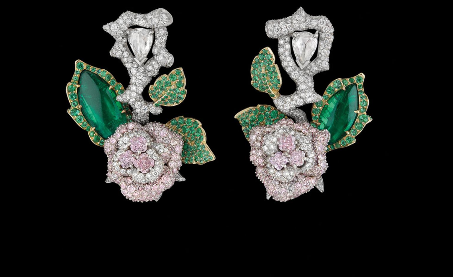 Dior Fine Jewellery Le Bal des Roses, Bal de Mai earrings in white and yellow gold with diamonds,  fancy pink, lilac and mauve diamonds and emeralds.