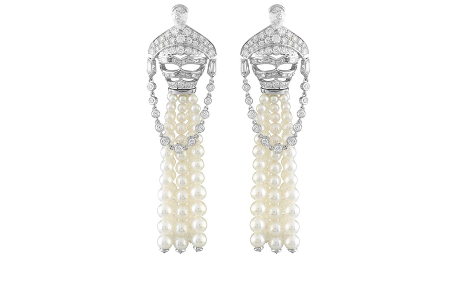 Van Cleef & Arpels, Bals de Légende, Le Bal du Palais d'Hiver, Loup diamants decor earrings.