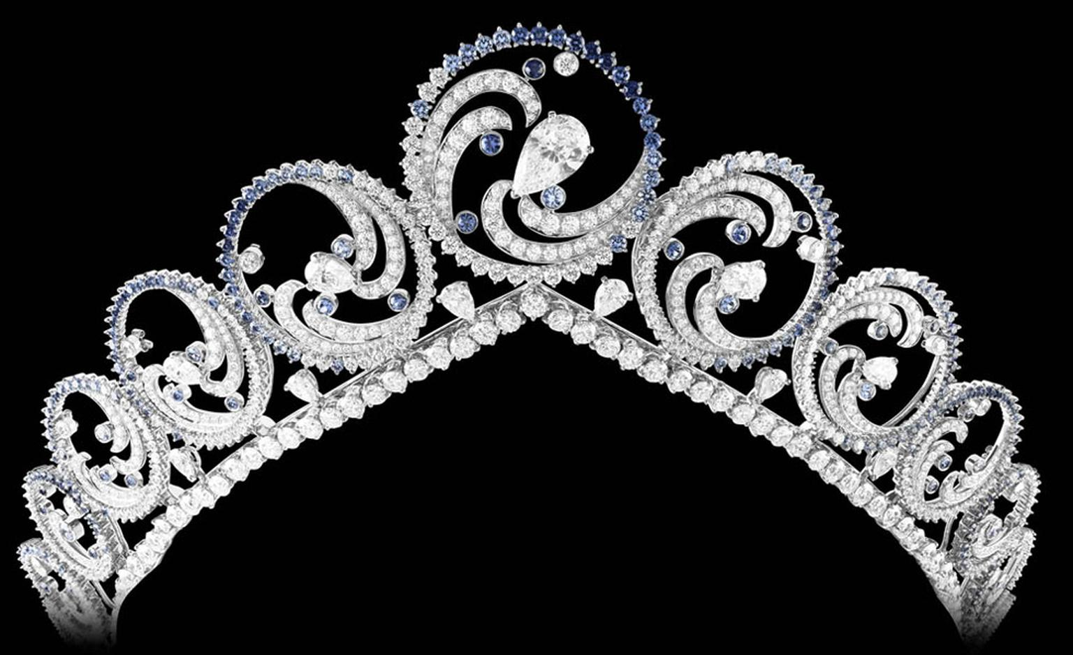 Van Cleef & Arpels Ocean tiara 883 round-cut diamonds, weighing a total of over 44 carats with 10 pear-cut diamonds, weighing a total of over 4 carats. A 4.01 carat pear-cut diamond and 359 round-cut sapphires for over a total of 18 carats, in a...