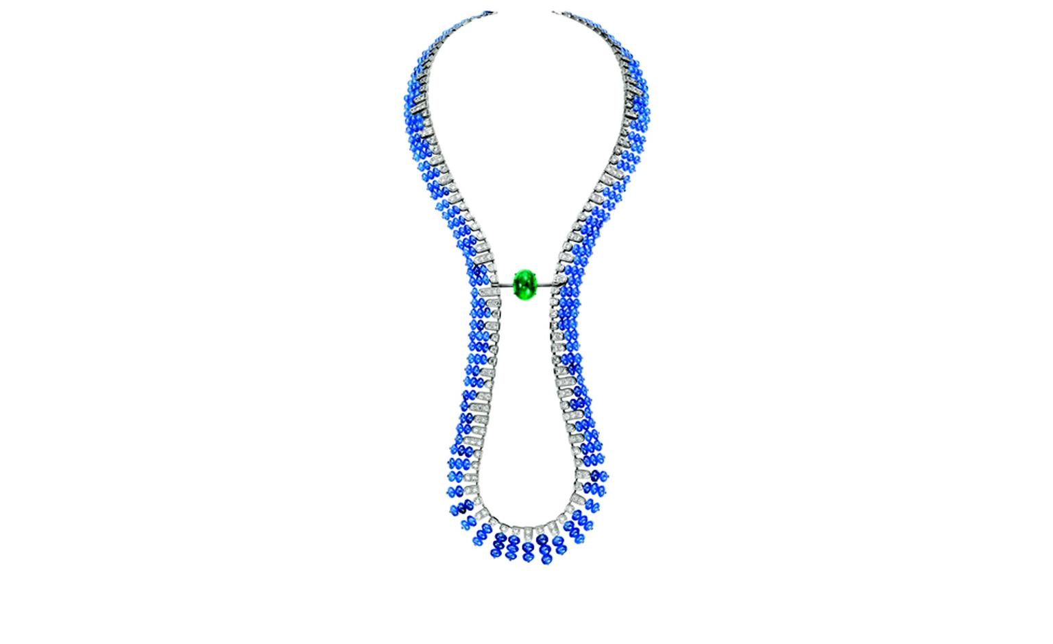 BOUCHERON. Beau Rivage necklace, set with an oval cabochon emerald and sapphire beads, paved with diamonds, on white gold. The center stone is detachable to be worn separately; the necklace could then be worn as a sautoir. POA
