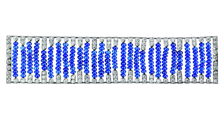 BOUCHERON. Beau Rivage bracelet, set with sapphire beads, paved with diamonds, on white gold. POA
