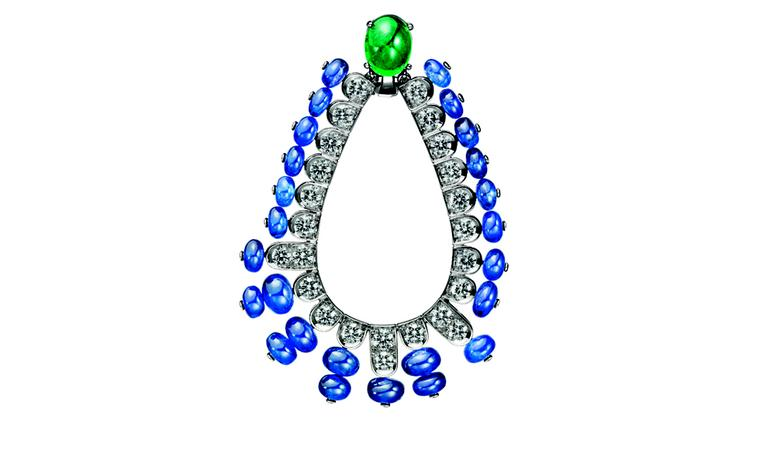BOUCHERON. Beau Rivage earrings, set with an oval cabachon emerald and sapphire beads, paved with diamonds, white gold. POA