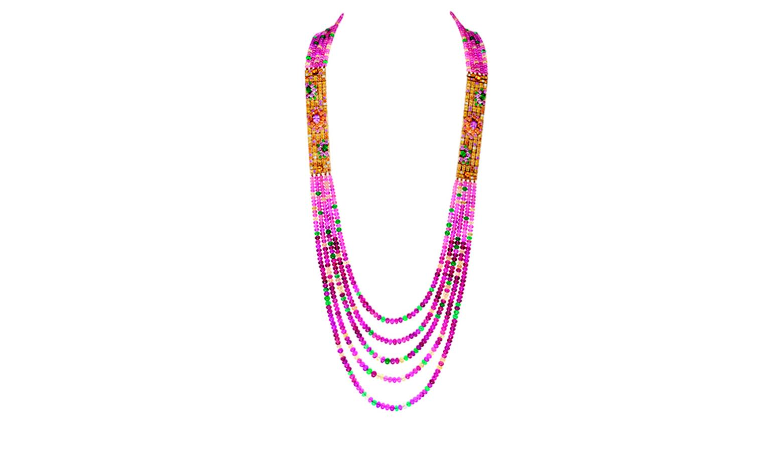 Boucheron Isola Bella necklace with rubellite and tourmaline beads, yellow sapphires, emeralds and spessartite garnets, rubies, pink sapphires and diamonds in yellow  gold.  The two gold sections can be detached to form a bracelet and the neckla...