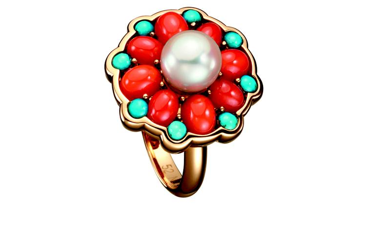 BOUCHERON. Paraggi ring, set with round cultured pearls, round turquoise and oval red corals, on pink gold. POA