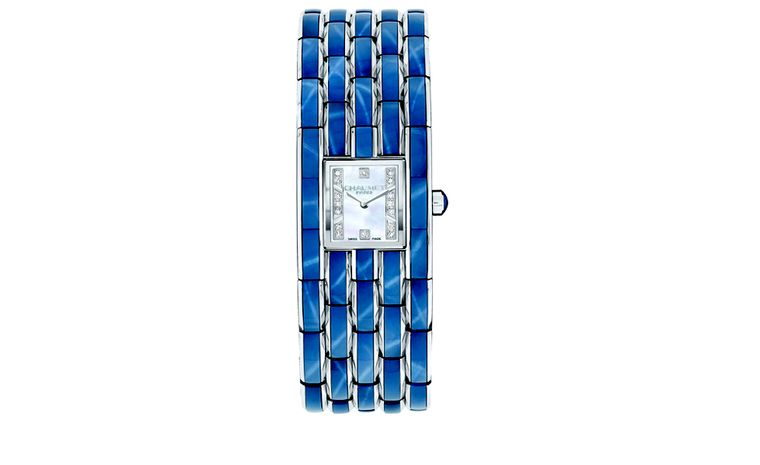 CHAUMET. Khesis Crystal cuff watch 'Blue' with blue 'star' crystal links. POA