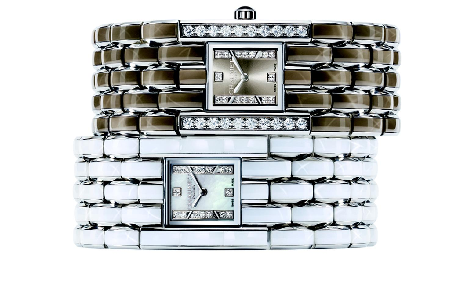 CHAUMET. Khesis Crystal Cuff Lumière and Khesis Crystal Manchette Perle watches. POA