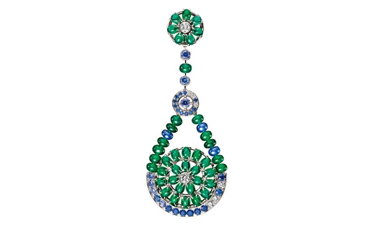Boucheron Capriccioli  earrings,  paved  with  emerald  beads  and  sapphires,  oval  cabochon  emeralds,  blue  and   purple  sapphires  and  diamonds,  on  white  gold. POA
