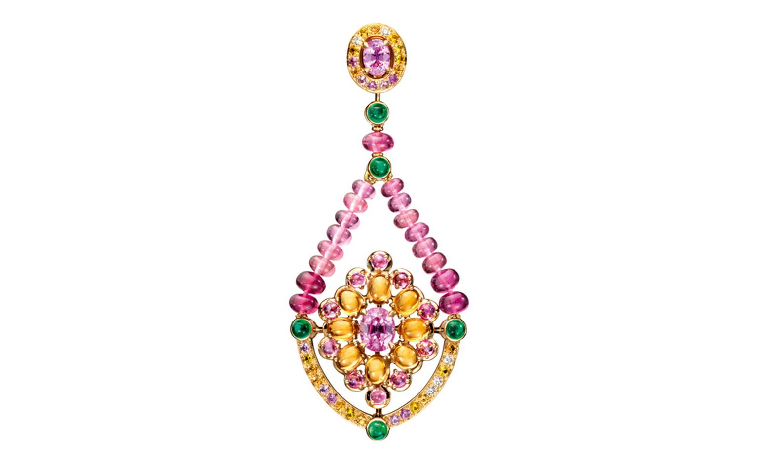 Boucheron Isola Bella earrings, set with pink oval sapphires, paved with orange, pink and yellow sapphires and diamonds, on yellow gold. POA