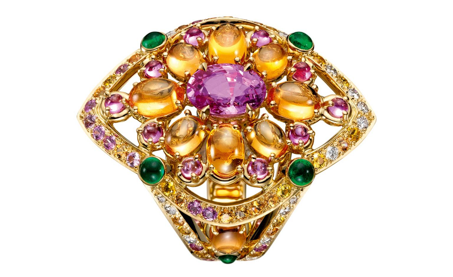 Boucheron Isola  Bella  ring,  set  with  an  oval  pink  sapphire,  paved  with  yellow,  orange  and  pink  sapphires   and  diamonds,  on  yellow  gold. POA