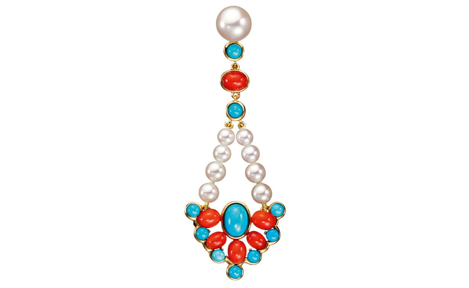 BOUCHERON. Paraggi earrings, set with round cultured pearls, round turquoise and oval red corals, on white gold. POA
