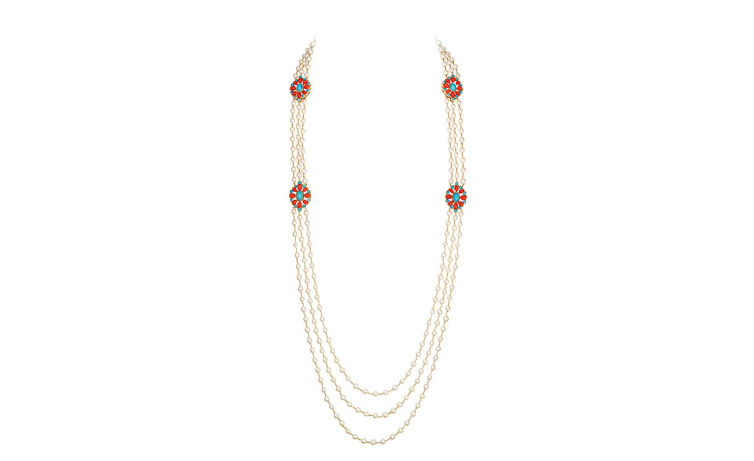 BOUCHERON. Paraggi necklace, set with round cultured pearls, round turquoise and oval red corals, on pink gold. POA