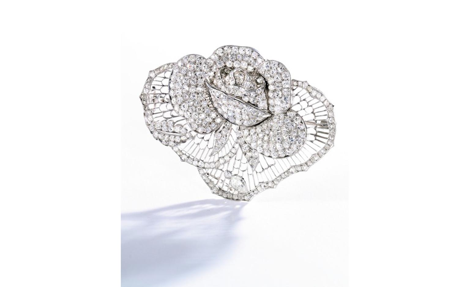 Formerly in the Collection of Marlene Dietrich. Platinum and Diamond Brooch, circa 1930