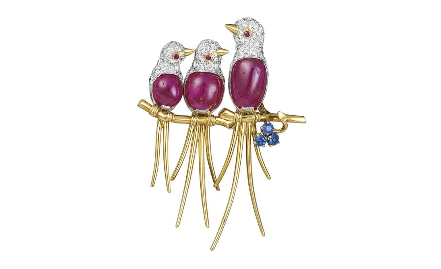 Van Cleef & Arpels Lovebirds clip. Gold, rubies, sapphires & diamonds, 1954. Formerly in Her Imperial Highness Princess Soraya of Iran's Collection.