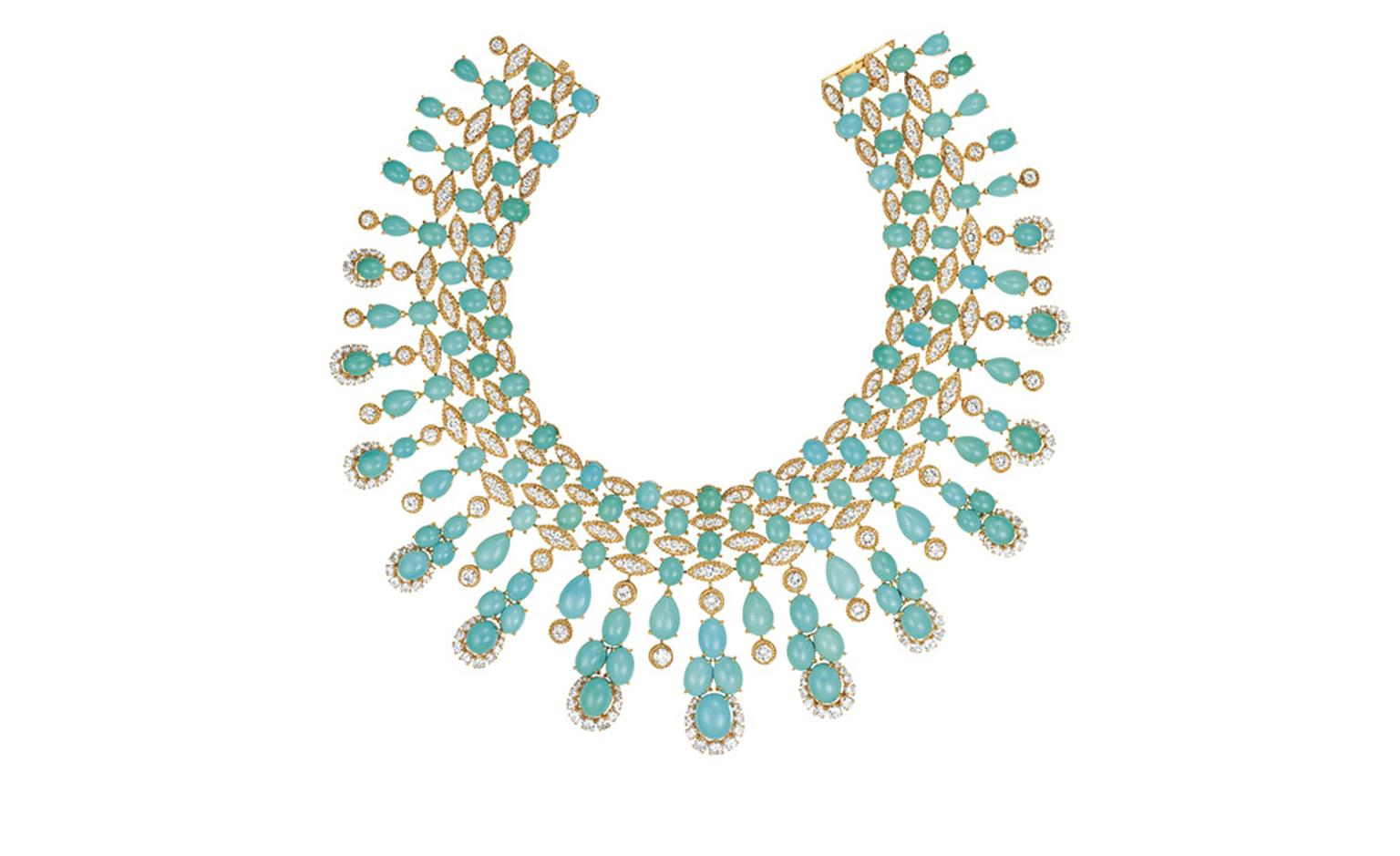 Van Cleef & Arpels Panka necklace. Gold, diamonds & turquoise, 1974. Worn by Eva Mendes.
