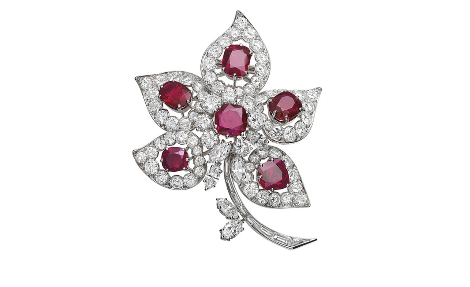 Van Cleef & Arpels Ruby flower in opera singer Maria Callas' Collection. Platinum, rubies & diamonds, 1967.