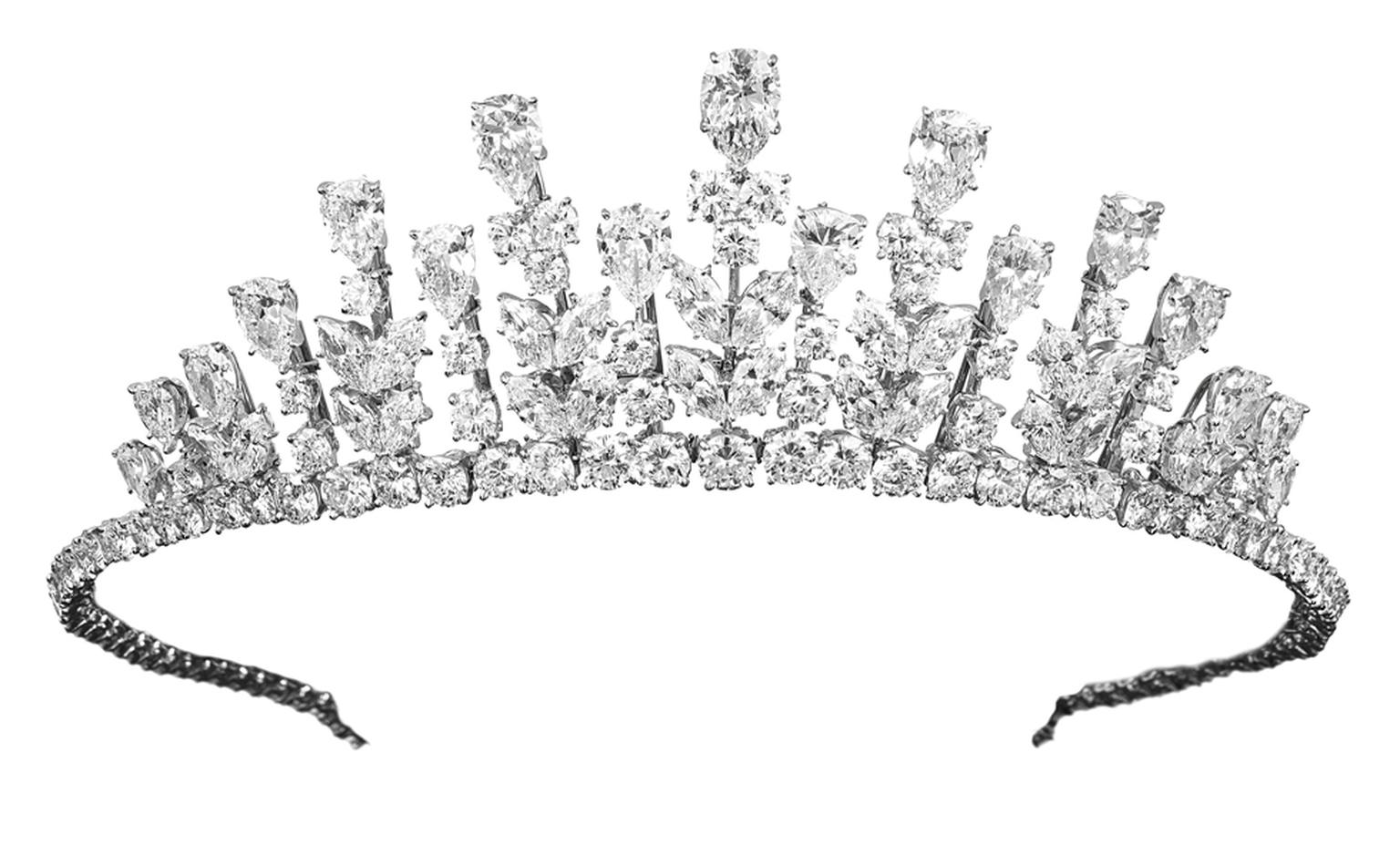 Van Cleef & Arpels Tiara worn by Her Serene Highness Princess Grace of Monaco. Gold, platinum & diamonds, 1976.