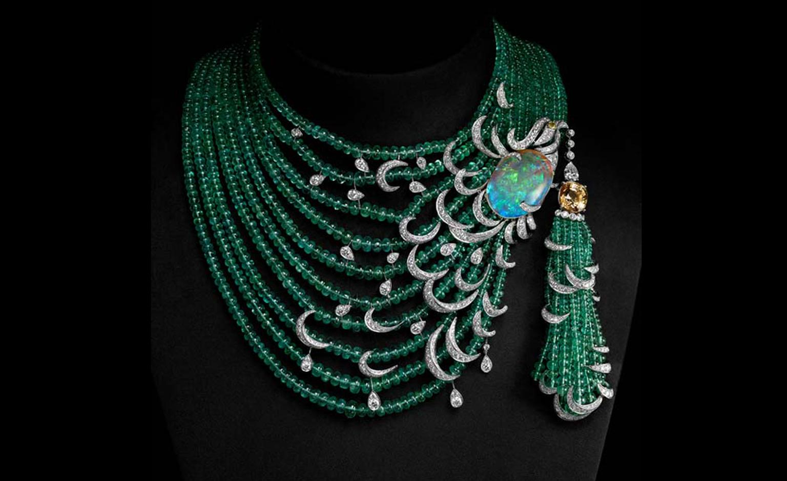 CARTIER. Emerald, opal and diamond necklace with yellow diamond solitaire. POA