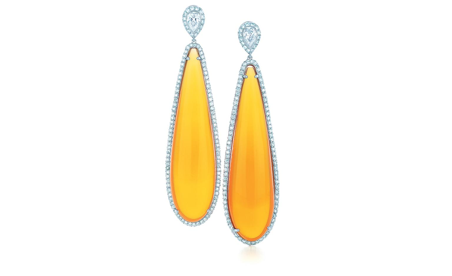 TIFFANY & CO. Fire opal cabochon and diamond earrings in platinum. POA