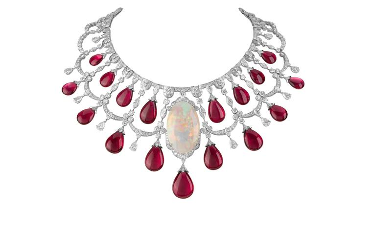 VAN CLEEF & ARPELS. Zanzibar necklace, Les Voyages Extraordinaires High Jewellery Collection, white gold, round diamonds, marquise, baguette-cut and pear-shaped diamonds, 17 rubellite drops. POA